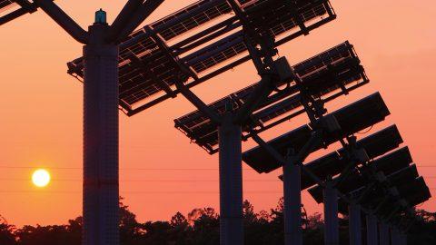 solar panel sunset